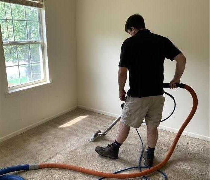 SERVPRO technician cleaning carpets in Newberry, SC