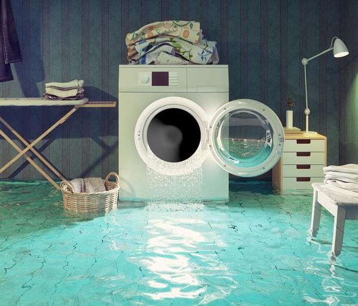 Home washing machine flooding after a faulty water line